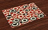 Lunarable Casino Place Mats Set of 4, Poker Chips Metropolitan Life Dollar Currency Symbols Wealth Winning Enjoy, Washable Fabric Placemats for Dining Room Kitchen Table Decor, Redwood Black Cream