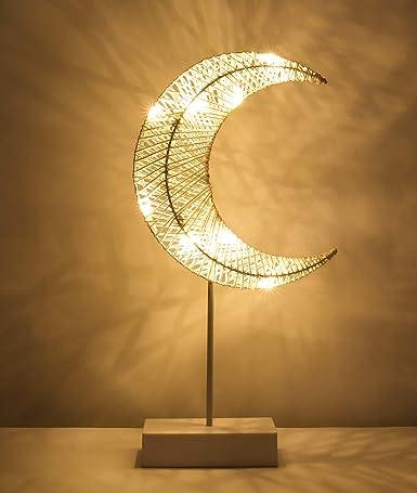 Lewondr Lámpara Decorativa de Mesa de Hierro 3D Tejida con Luz de Noche, Luces Led Funciona con Pilas, para Fiestas, Bodas, Festivales, Decoración del Hogar, al Aire Libre Disposición Romántica - Luna: