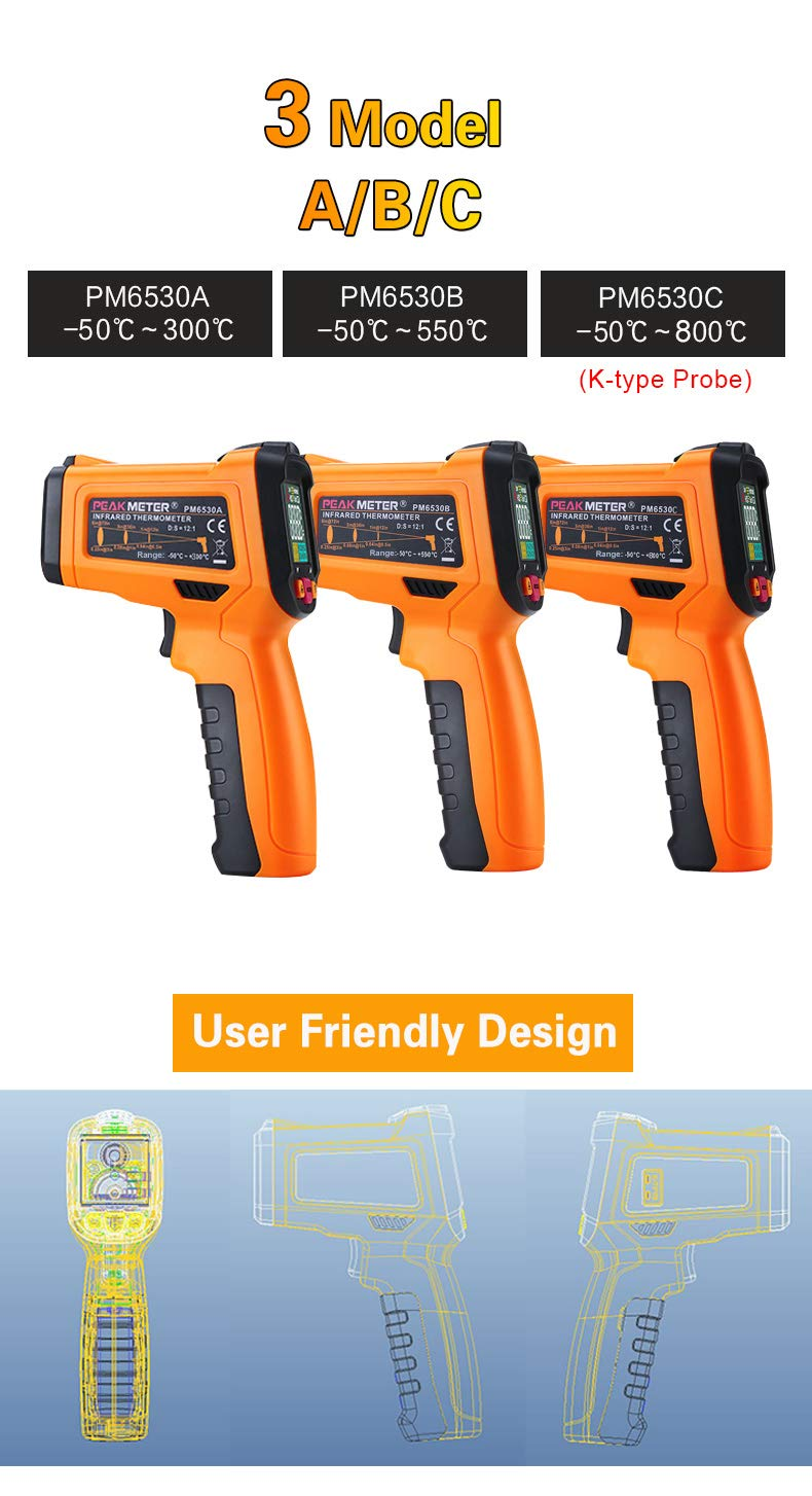 QIANLAI LCD Handheld Laser Digital IR Infrared Thermometer Temperature -50~800 with K Type Ambient UV Light