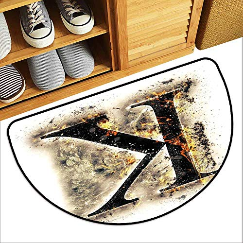 DILITECK Outdoor Door mat Letter K Smoked Letter K Alphabet in Blaze with Grunge Design Ignited Writing Symbol Hard and wear Resistant W30 xL18 Tan Black Orange