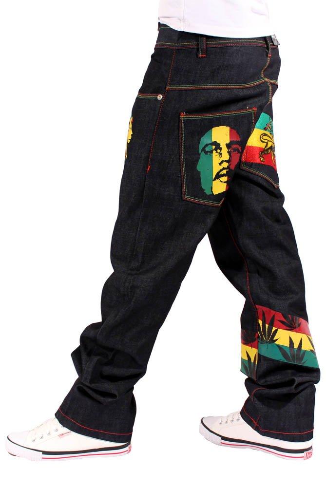 Money Talks Men's Rasta One Love Loose Fit Jeans W30-R33 Black