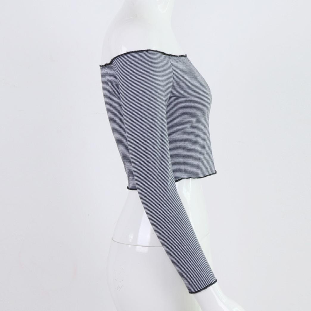 OverDose mujer Del Hombro De Manga Larga con Rayas Sueltas Tops Casual Blusa Camiseta Mujer Talla Grande (L, Negro): Amazon.es: Ropa y accesorios