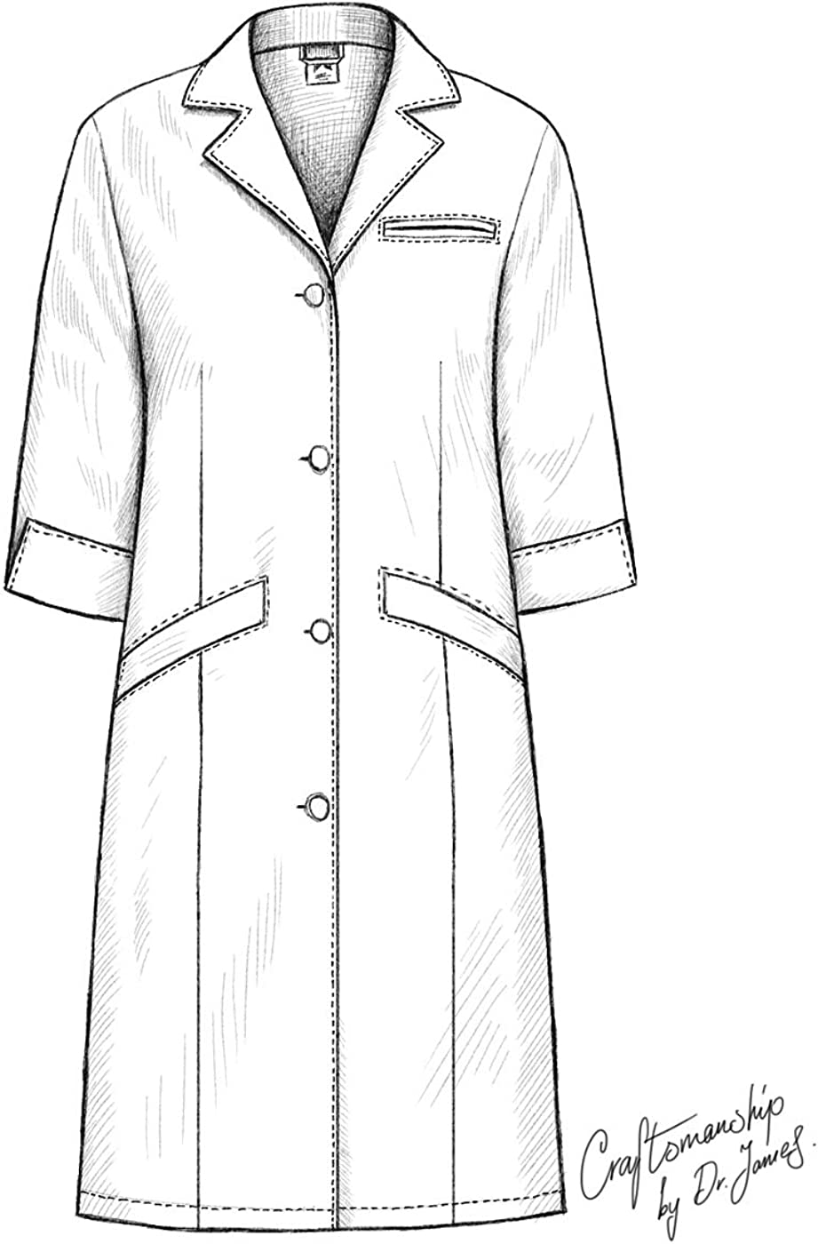 Dr vestibilit/à Classica Maniche a 3//4 James Camice Medico da Laboratorio da Donna