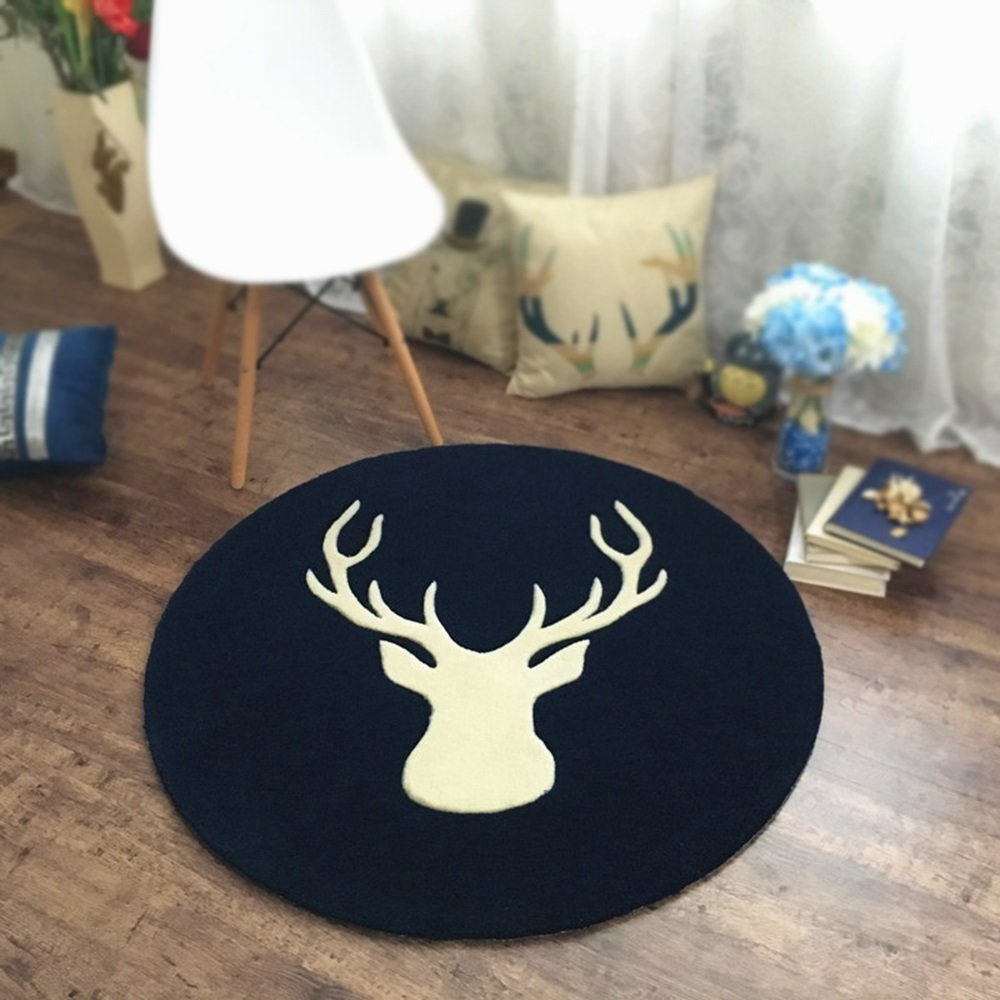 Dark blue retro Nordic circular carpet personalized living room bedroom bedside basket basket computer chair round blanket study carpet ( Size : Diameter 150cm )