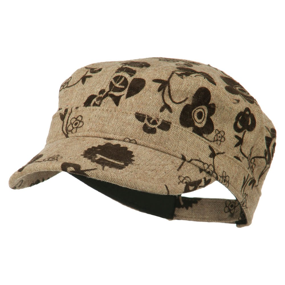 Flower Jeep Style Army Cap - Brown OSFM