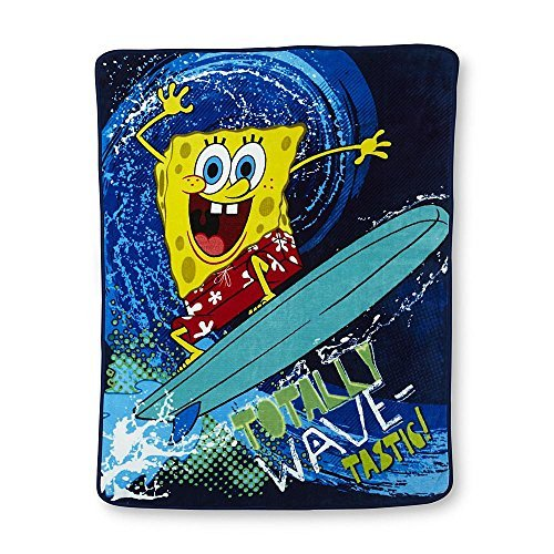 Nickelodeon Spongebob Squarepants Wave Rider Plush Throw Blanket; 46