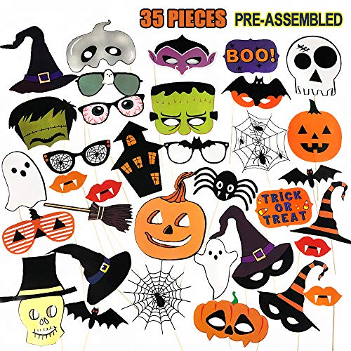 Halloween Photo Booth Props (PUSITI Halloween Photo Booth Props 35 Pieces Pre-assembled Party Favors Decorations Pumpkin Ghost Lips Skull Glasses Wizard Hat Spider Mask Pose Sign)