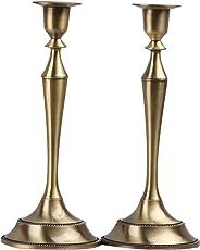 Metal Taper Candle Holder,Set of 2,Bronze