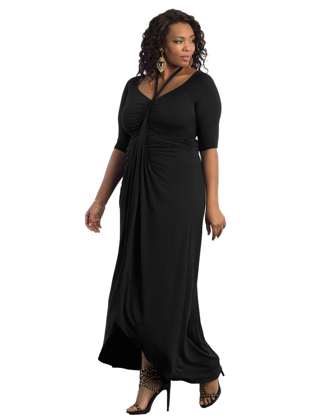 Kiyonna Women's Plus Size Divine Draped Maxi Dress 2X Black Noir