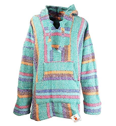 Funny Guy Mugs Premium Baja Hoodie Sweatshirt Pullover Jerga Poncho (Candy, X-Large)