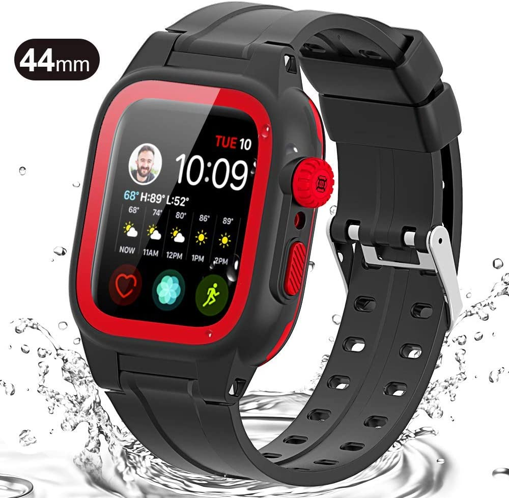 Waterproof Case for Apple Watch 44mm Series 5 4, Watch 44mm Waterproof Case With Built-in Screen Protector,Rugged Case For Apple Watch 44mm (Red)
