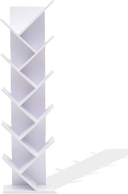 Rebecca Mobili Estantes para Libros Blanco, Estante Moderno, 10 estantes, Madera MDF, para Estudio Oficina hogar - Medidas: 160 x 44,5 x 22 cm ...