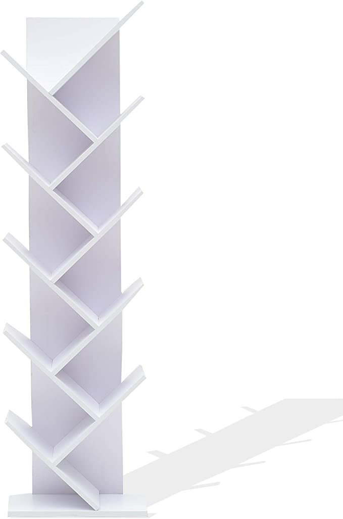 Rebecca Mobili Estantes para Libros Blanco, Estante Moderno, 10 estantes, Madera MDF, para Estudio Oficina hogar - Medidas: 160 x 44,5 x 22 cm (AxANxF) - Art. RE4584: Amazon.es: Hogar