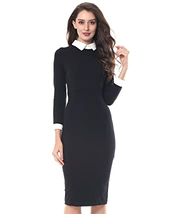 Schwarzes knielanges kleid mit armeln