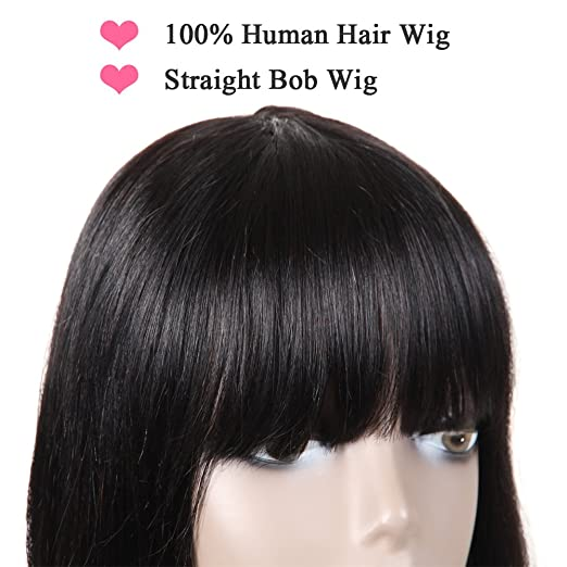 Amazon.com: Short Cute Bob Wigs With Bangs for Black Women, 100% Brazilian Short Straight Women Bob Wig 100g, 12inch None Lace Frontal Wig Short Wigs ...