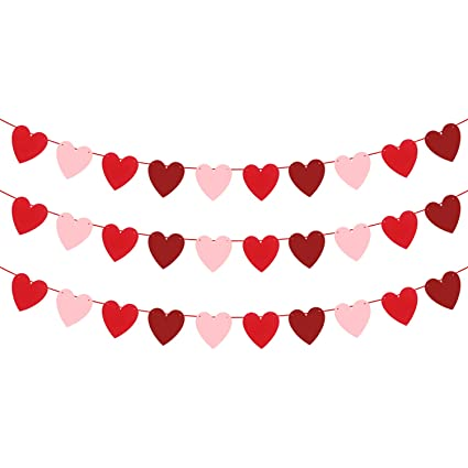 Felt Heart Garland Banner No Diy Valentines Day Banner Decor Valentines Decorations Anniversary Wedding Birthday Party Decorations Red