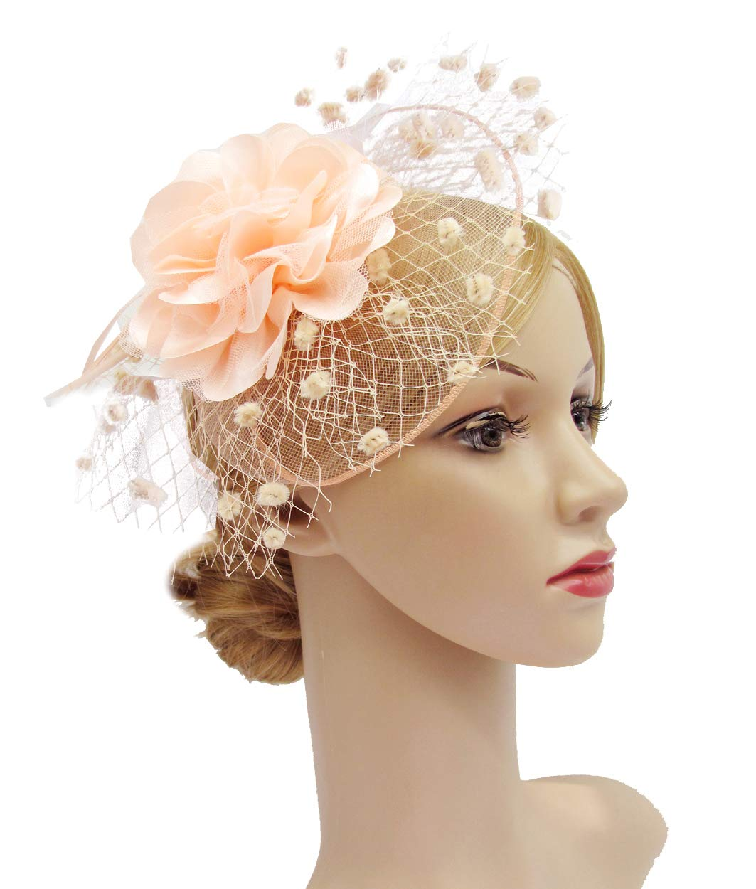 K.CLASSIC Fascinators Hats for Womens 50s Headwear with Veil Flower Cocktail Wedding Tea Party Hat(A-Peach)
