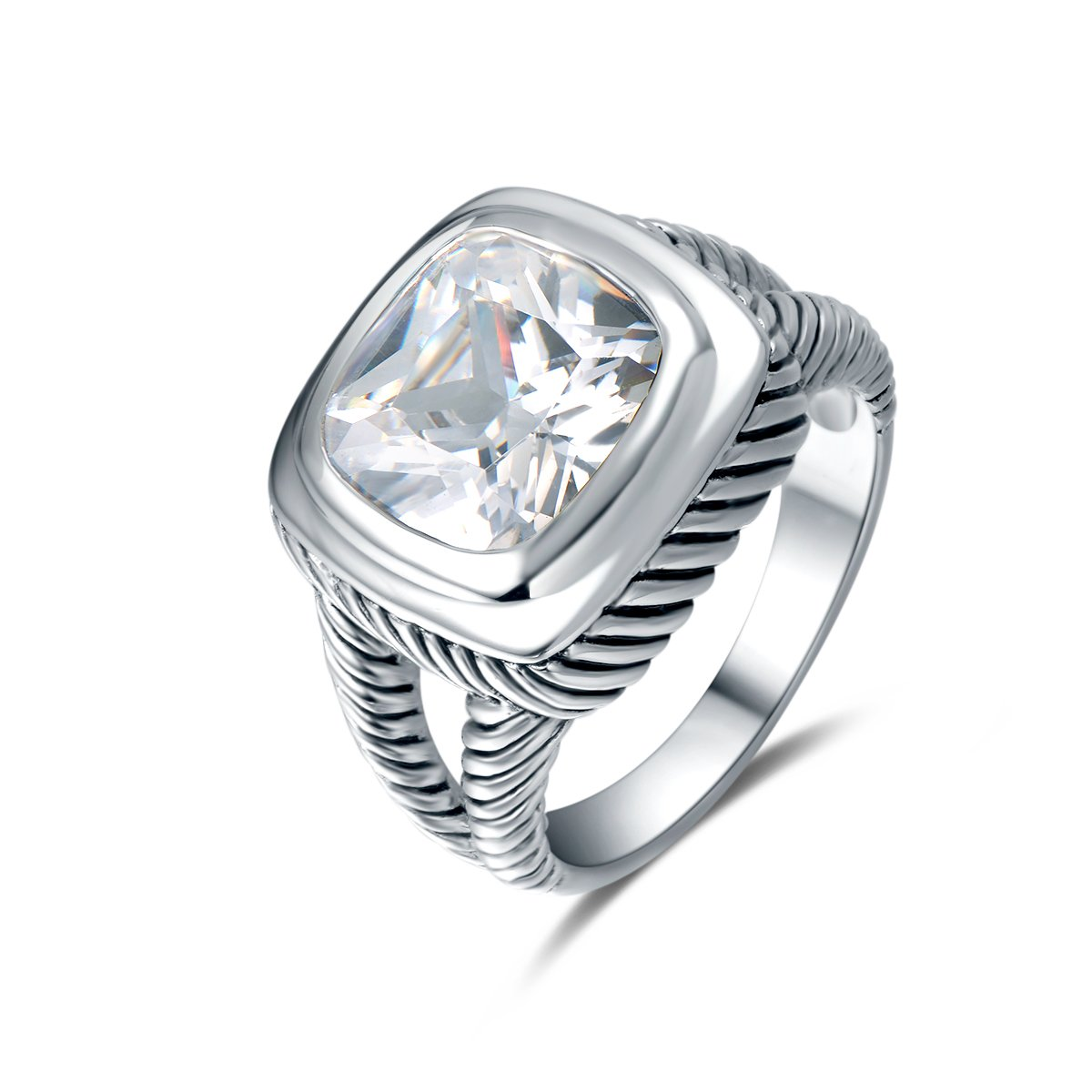Quiges Vintage Cocktail Inspired 925 Silver Classic David Rope Wire Solitaire Ring with Radiant Crystal CZ 19