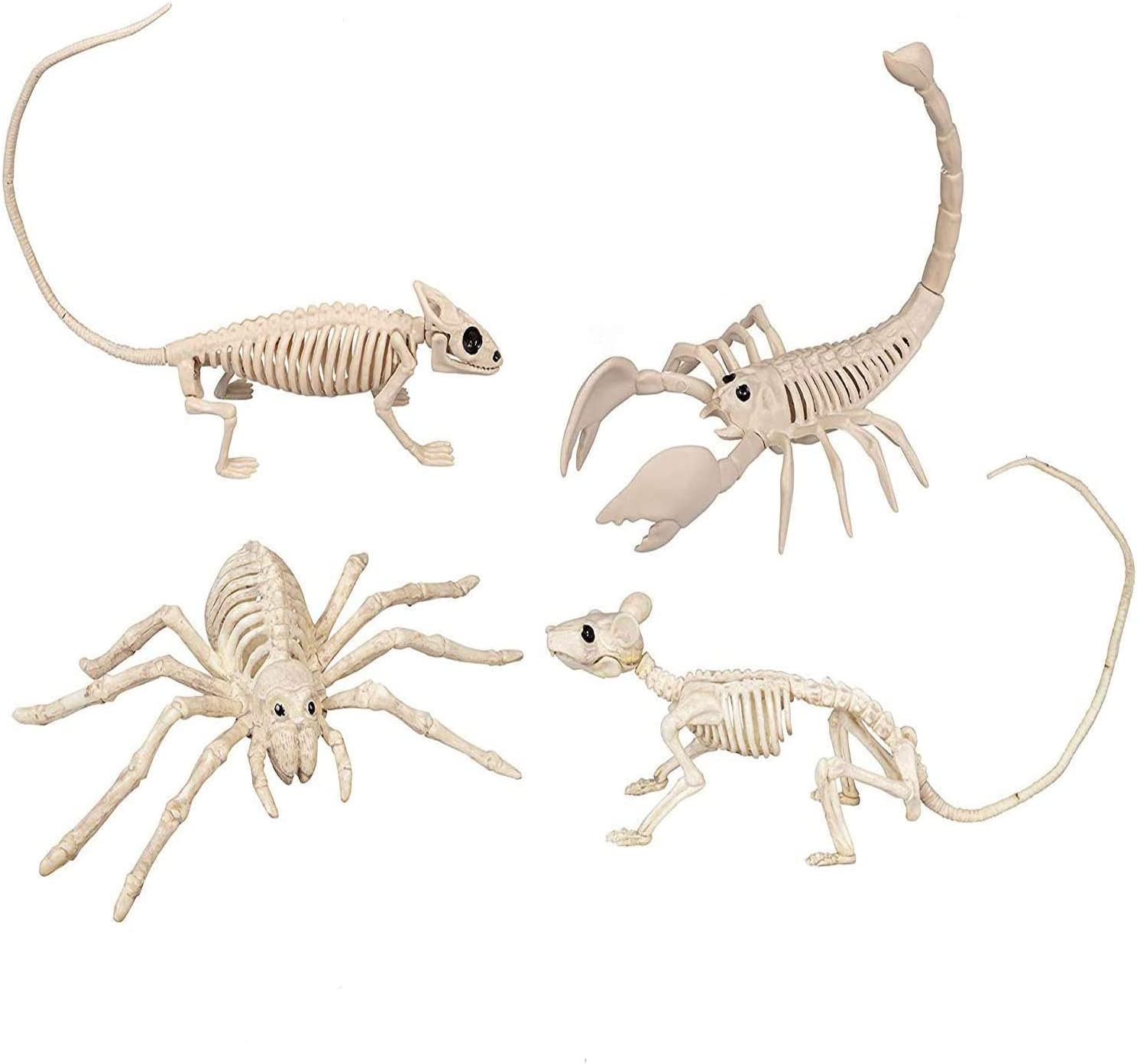 Skeleton Animal Halloween Party Decoration | Plastic Decor Costume Party | Fake Animal Set Including Rat, Spider, Lizard, Scorpion Skeletons | Prop Anatomy Lawn Decorations | Indoor Outdoor | 4 Pack
