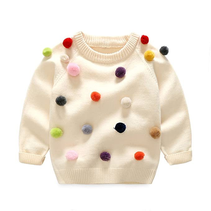 1b8f6ea8bb6 HighDream Baby Boys Girls Long Sleeve Pompon Design Thicken Warm Wool  Pullover Sweater (Creamy White