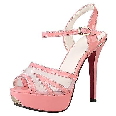 Artfaerie Damen Stiletto High Heels Peeptoes Sandalen Riemchen Pumps mit Plateau und Blumen Elegant Slingback