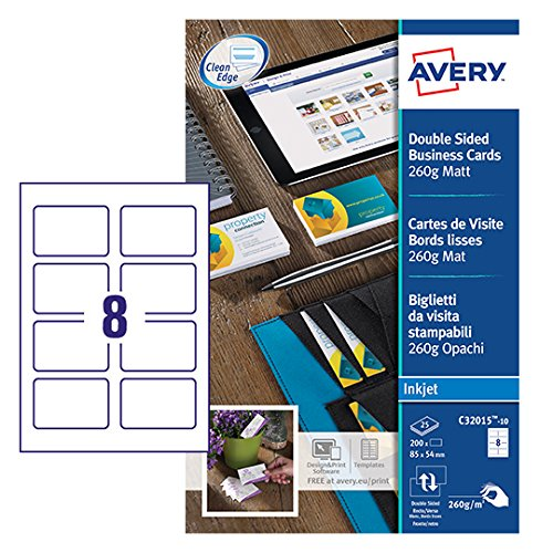 Avery C32015-10 Printable Double-Sided Business Cards, 8 Cards Per A4 Sheet ()