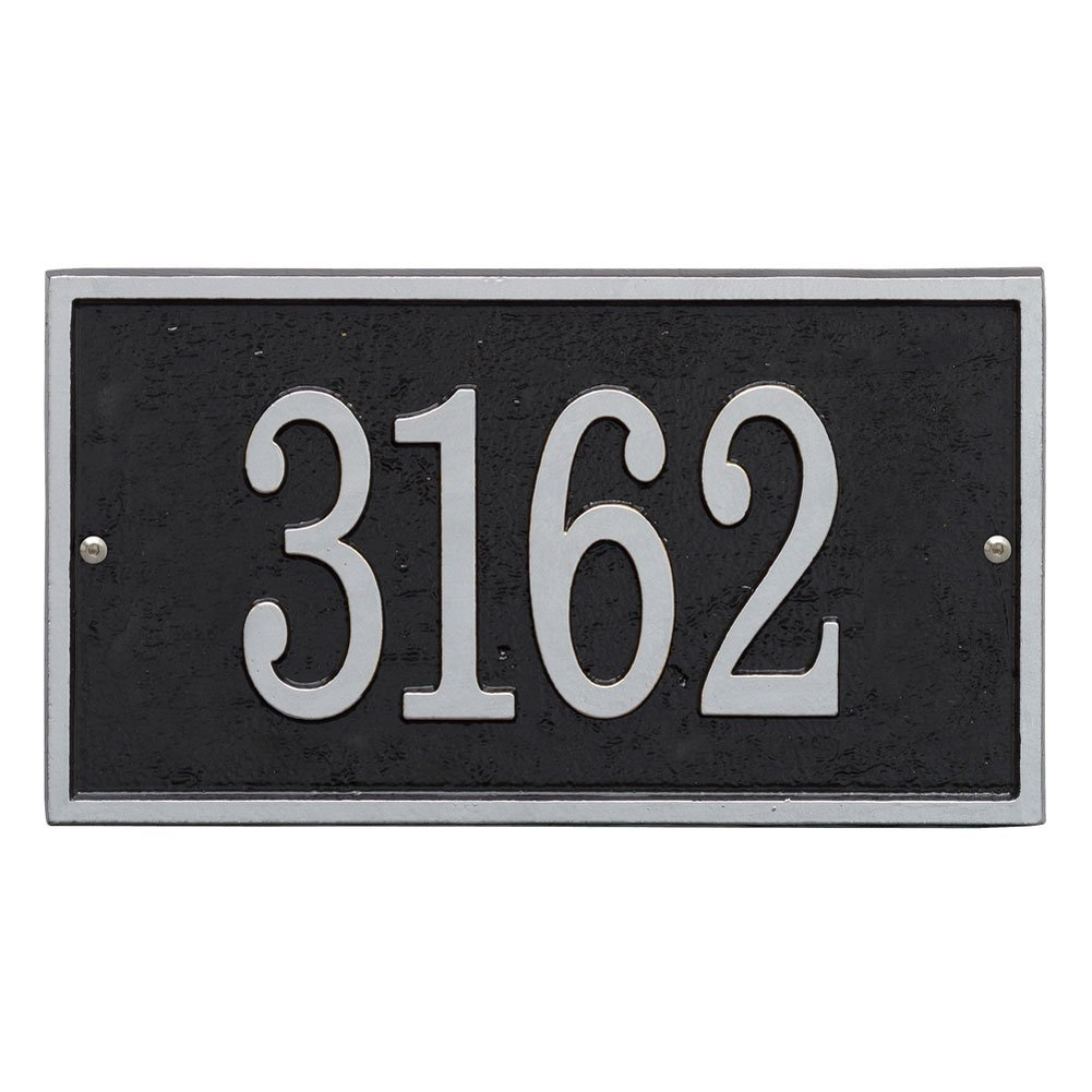 Whitehall Personalized Cast Metal Address Plaque - Custom House Number Sign - Rectangle (11'' x 6.25'') Black with Silver Numbers by Whitehall