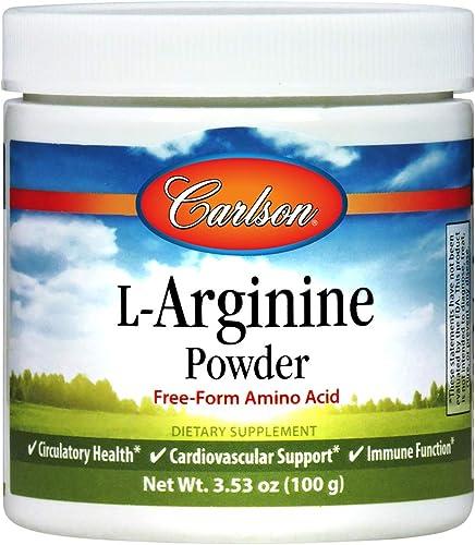 Carlson – L-Arginine Powder, Free-Form Amino Acid, Circulatory Health, Cardiovascular Support, Immune Function, 3.53 oz 100 g