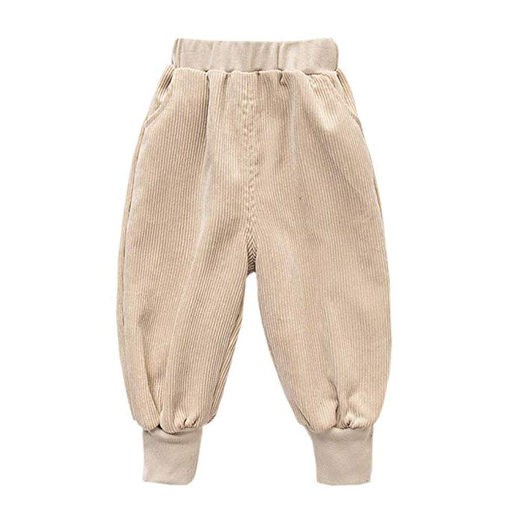 Unisex Kids Todder Baby Boys Girls Corduroy Pants Loose Casual Elastic Waist Fit Harem Pants