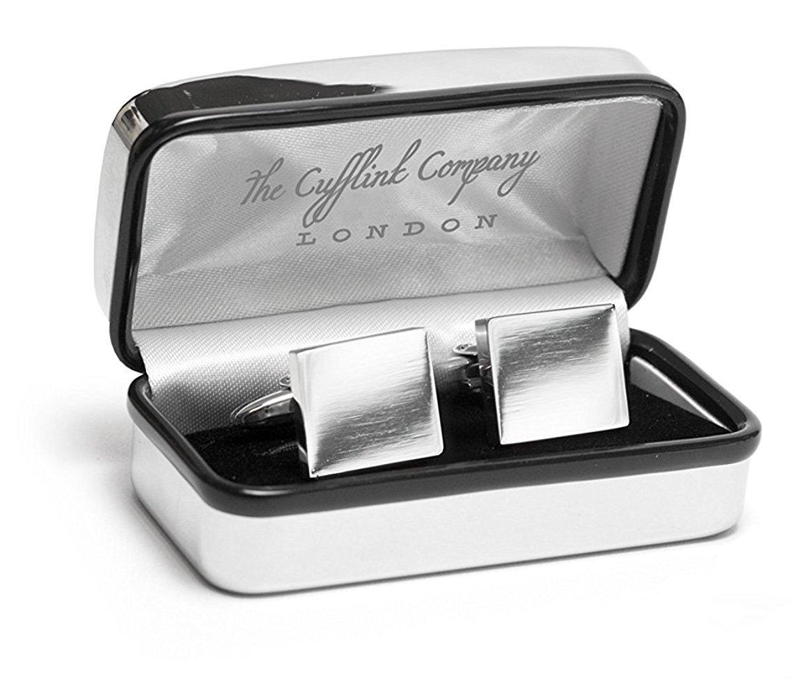 Gemelos de plata cuadrados con lujosa funda cromada, grabado ...