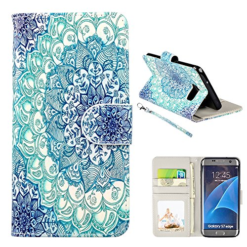S7 Edge Case, Galaxy S7 Edge Case, UrSpeedtekLive Premium PU Leather Wristlet Flip Wallet Case with Card Slots & Stand Cover For Samsung Galaxy S7 Edge, Mandala ( NOT for Galaxy S7 )