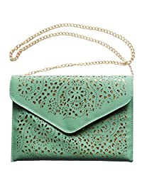 Women's Clutch Bag, iPad/Tablet Sleeve, Open-Worked Lace Leather (PU) [KIREI obsession] [7 Colours]