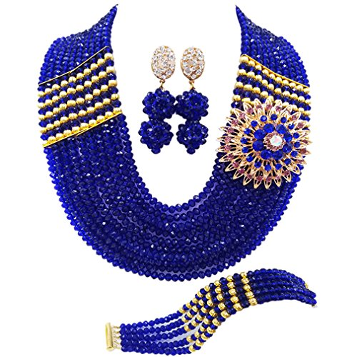 aczuv Nigerian Jewelry for Women African Wedding Necklace Set Crystal Beaded Bridal Jewelry Sets (Royal Blue)