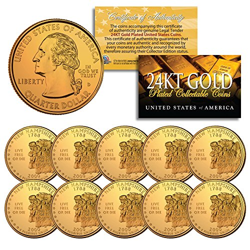 Quarter Us Mint - 2000 New Hampshire State Quarters US Mint BU Coins 24K GOLD PLATED (LOT of 10)