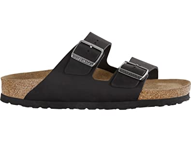 2c594def7b10 Image Unavailable. Image not available for. Color: Birkenstock 752483  Arizona Black Soft Footbed Nubuck Leather ...