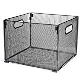 Samstar Metal Mesh File Organizer Box, Foldable Storage Crate Folder Holder Rack for Home Office, Letter Size,Black