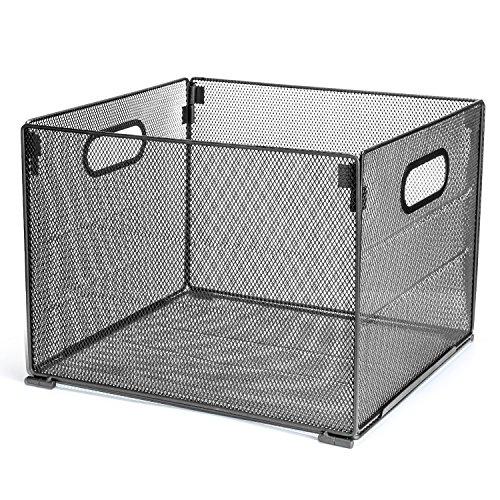 Samstar Metal Mesh File Organizer Box, Foldable Storage Crate Folder Holder Rack for Home Office, Letter Size,Black by SamStar