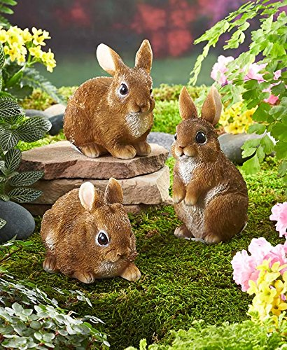 Set Of 3 Bunny Family Whimsical Easter Rabbits Garden Springtime Statue  Sculpture Outdoor Yard Decoration