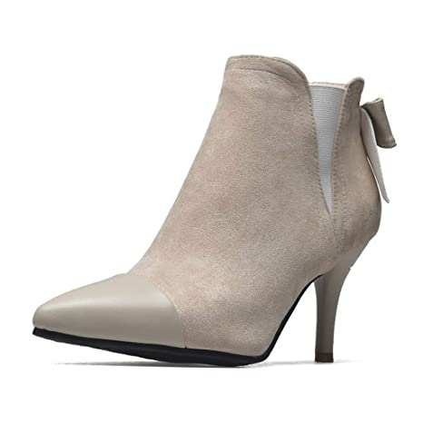 e9aff5f11fabe Amazon.com : FCXBQ High Stiletto Heels Ankle Boots, Bow Pointed Low ...