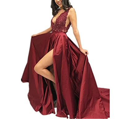 LeoGirl Womens Beaded Lace Bodice Satin Long Prom Dresses with Slit Sexy Deep V-Neck Formal Evening Gown at Amazon Womens Clothing store: