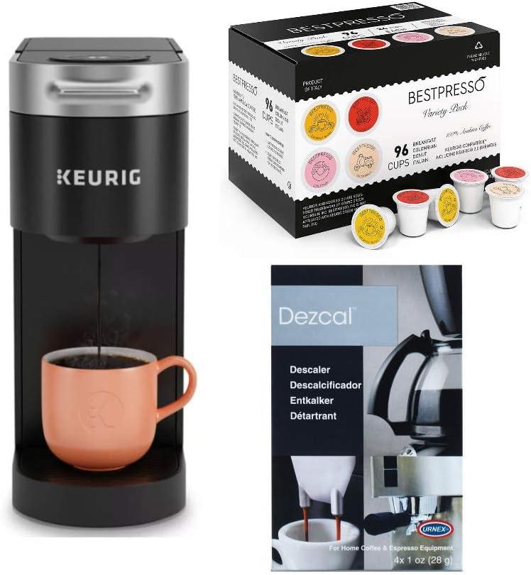 Keurig K-Slim Single-Serve K-Cup Pod Coffee Maker with 96-Count Variety Pack K-Cup Set and Descaling Powder Bundle