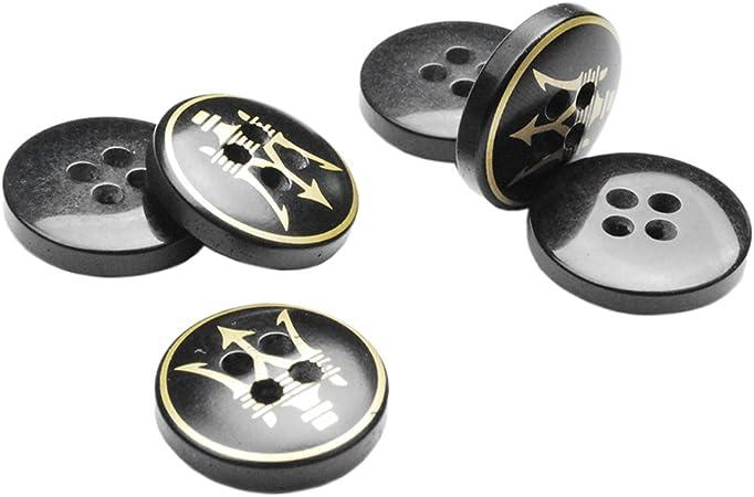 50 unidades de botones de costura para pantalones de camisa de hombre, color negro y dorado, accesorios #FLN031-24L, Dia.15mm: Amazon.es: Hogar