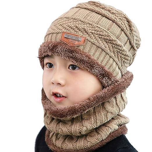 ZESLMG Kids Winter Hat and Scarf Set Knitted Boy Beanie Skullies Hat Neck  Warmer (Khaki 3ac677c04bb