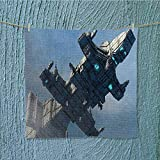 SeptSonne Soft Luxury Towel of Huge Military Ship in the Air Solar Planetary Cosmos Vehicle Grey Blue Absorbent Ideal for everyday use W19.7 x W19.7 INCH