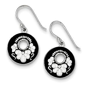 .925 Sterling Silver 32 MM Stellux Crystal Circle Shepherd Hook Earrings