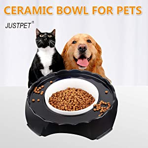 JUSTPET Ceramic Pet Bowl No Spill Dog Cat Food Water Bowl, Anti Skid No Splash No Mess Eating Drinking Bowl, Heavyweight Ceramic Dish Stays Put, Chew-Proof, Microwave and Dishwasher Safe