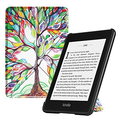 Fintie Origami Case for All-new Kindle Paperwhite (10th Gen, 2018 Release) - Slim Fit Stand Cover Support Hands Free Reading with Auto Sleep Wake for Amazon Kindle Paperwhite E-reader, Love Tree