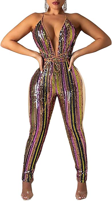 7508e9d8a352 Amazon.com  Women Sparkly Sequins Jumpsuit Colorful Stripe Print Patchwork  Backless Deep V Neck Bodycon Romper Clubwear  Clothing