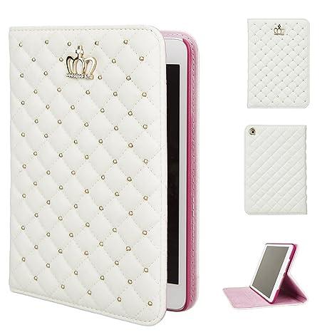 iPad mini Carcasa, iPad Mini 1, iPad Mini 2, iPad Mini 3 Fundas, diseño de corona de piel sintética Fashion Bling funda protectora Smart función de ...