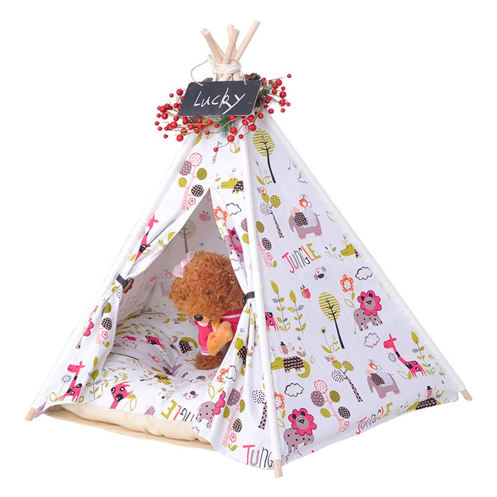 L Rockingtail Pet Teepee Portable Dog and Cat Tents Comfortable Cotton Non-Slip Washable Durable Tough Canvas Animal Pattern